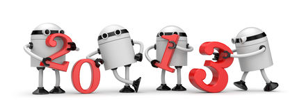 Robots with 2013 text. Illustration for New Year. Separated on white Stock Images