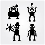 Robots. Four robot's silhouettes on light background Vector Illustration