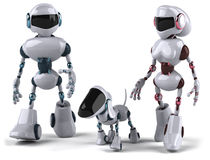 Robots. Fun 3d robots, 3d generated picture Royalty Free Stock Photos