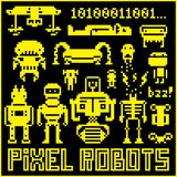 Robots. Set of pixel art robots Stock Illustration
