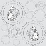 Robots. Pattern of little robots and details Royalty Free Stock Photos