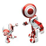 Robots. Conceptual cartoon of two robots, a parent talking to his little child Royalty Free Stock Image