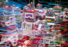 Robots with abstract technology background royalty free stock image