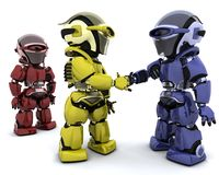 Robots in agreement. 3d Render of robots making a deal Stock Photography