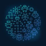 Robots and AI round blue illustration. Vector circular colorful symbol made with artificial intelligence and robot icons on dark background royalty free illustration