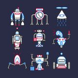 Robots android for doing household set on dark blue background Royalty Free Stock Photos
