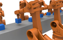 Robots on an assembly line. 3D rendered illustration of multiple articulated industrial robots working on an assembly line vector illustration