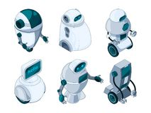 Robots assistant. Colored isometric pictures royalty free illustration