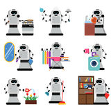 Robots assistants helping people in housework duties set, artificial intelligence  Illustrations Royalty Free Stock Image