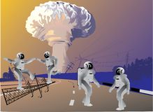 Robots and atomic explosion Stock Images