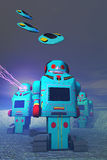 Robots on the Attack. Using 3D toy to simulate a space battle, retro robots defend against attacking toy flying saucers Stock Illustration