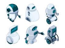 Robots auxiliaires Photos isométriques colorées illustration libre de droits