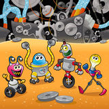 Robots with background. Royalty Free Stock Photos
