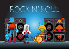 Robots band. Vector illustration of the robots musical band standing on the stage, holding the microphone, guitar, drums and other instruments Stock Photography