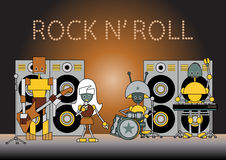 Robots band. Vector illustration of the robots musical band standing on the stage, holding the microphone, guitar, drums and other instruments Royalty Free Stock Photography