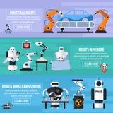 Robots Banners Set Stock Photos