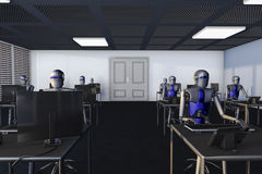 Robots. We are the robots, robots in a big office royalty free illustration