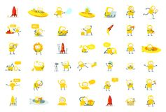 Robots big set character. Yellow color version. Search, ufo and others. Collection illustration. Robots big set character. Yellow color version. Robot toy cute vector illustration