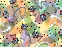 Robots and boomerang pattern Stock Image