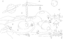 Robots build a futuristic building on the planet. Coloring book Royalty Free Stock Photography