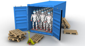 Robots in the cargo container. A large number of robots standing in an open freight container. . 3D Illustration Royalty Free Stock Photo