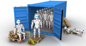 Robots in the cargo container. A large number of robots standing in an open freight container. Unloading or loading of the container. . 3D Illustration Stock Photography