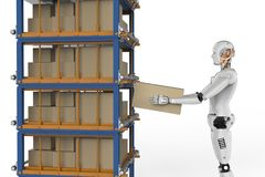 Robots carry boxes. 3d rendering humanoid robots carry boxes in warehouse Stock Images