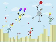 Robots Carrying balloons float up into the air Stock Image