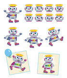 Robots - cartoon characters stock illustration