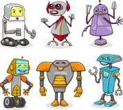 Robots cartoon illustration set Royalty Free Stock Photos