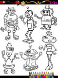 Robots Cartoon Set for coloring book Royalty Free Stock Photography