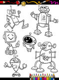 Robots Cartoon Set for coloring book Stock Photos