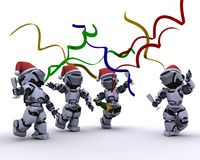 Robots celebrating at a christmas party Royalty Free Stock Photo