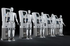 Free Robots Charge At Station Stock Photos - 121909933