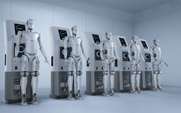 Robots charge at station. 3d rendering robots charge with electric charging station stock illustration