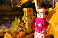 Robots collecting autumn leaves by the river Royalty Free Stock Photos