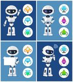Robots Collection and Icons Vector Illustration. Robots collection and icons with humanoids, robots set and frame, thinking creature, waving and showing white vector illustration