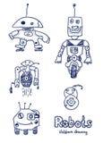 Robots comiques de bandes dessinées Photographie stock libre de droits
