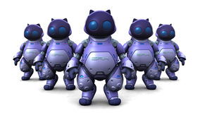 The Robots. Computer generated 3D illustration with Robots Stock Image