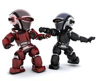 Robots in conflict. 3D render of a pair of robots in conflict Stock Images