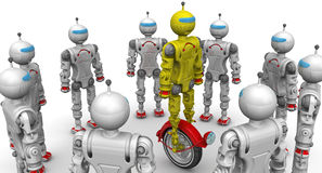 Robots are considering a new modification. Cyborgs are considering the yellow robot on unicycle standing on a white surface. . 3D Illustration Royalty Free Stock Images