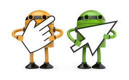 Robots with cursors Royalty Free Stock Photography