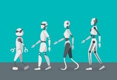 Robots d'Android de couleur de bande dessinée réglés Vecteur illustration stock