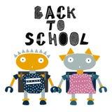 Robots d'enfant retournant à l'illustration d'école Camarades de classe de bande dessinée Style tiré par la main illustration stock