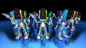 Robots dancing to techno Stock Photo