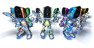 Robots dancing to techno Royalty Free Stock Photo