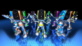 Robots dancing to techno Royalty Free Stock Image