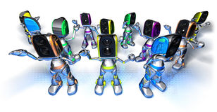 Robots dancing to techno Stock Photography