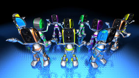 Robots dancing to techno Stock Images