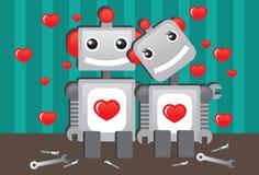 Robots dans l'amour Images libres de droits
